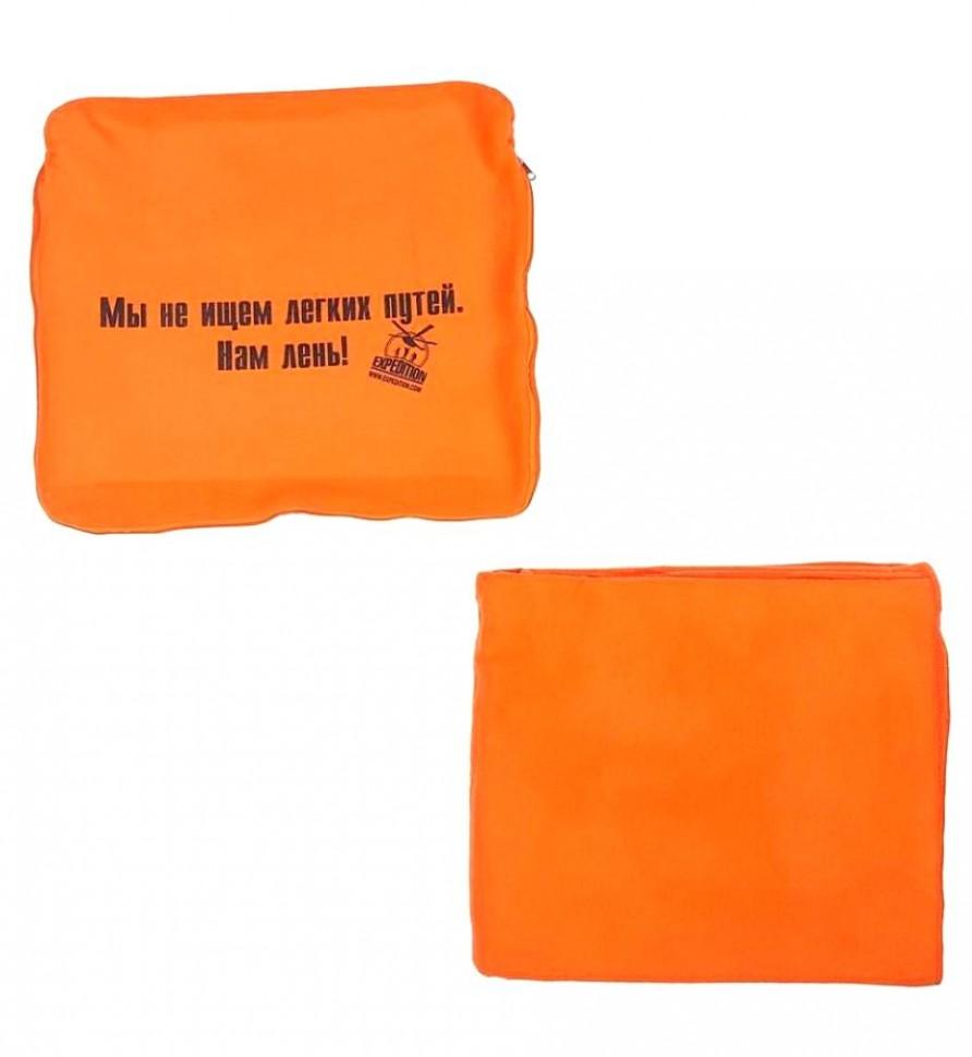 Автомобильный плед-подушка оранжевый