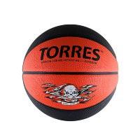 Мяч баскетбольный Torres Game Over р. 7, резина, серо-красный