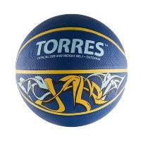 Мяч баскетбольный Torres Jam р. 7, резина, сине-желт-голубой