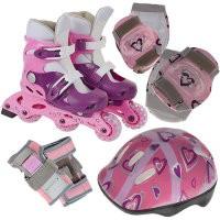Набор: коньки ролик, защита, шлем PW-120P р. 35-38