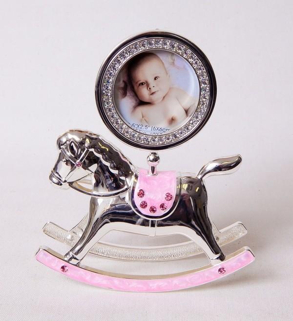 Фоторамка Platinum PF10342P Pink лошадка-качалка розовая, металлическая со стразами 6x6