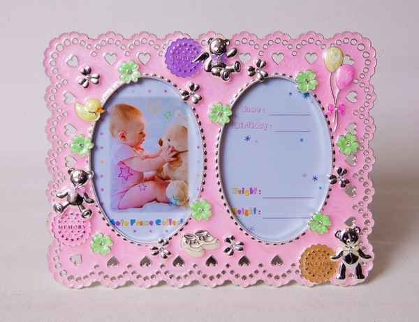 Фоторамка Platinum PF10664P Pink детская, металлическая со стразами, 2 фото