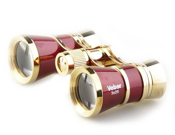 Бинокль Veber Opera БГЦ 3x25 с фокусировкой красный/золотой