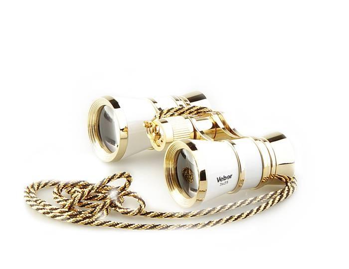 Бинокль Veber Opera БГЦ 3x25 с цепочкой белый/золотой