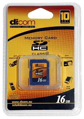 Карта памяти Dicom SDHC Class 6 16Gb