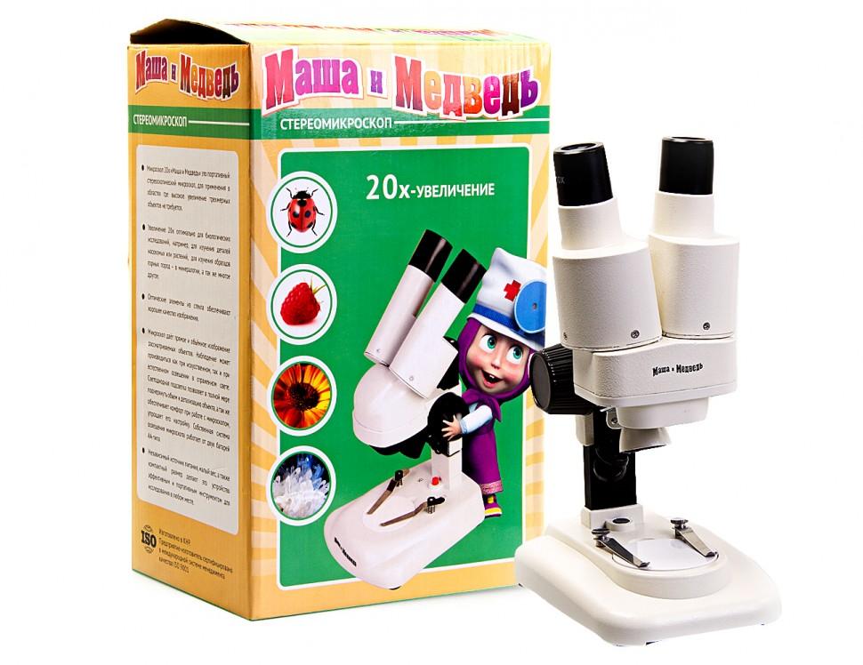 Микроскоп стерео в кейсе Маша и Медведь 20х