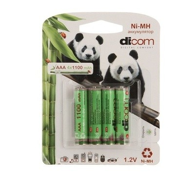 Аккумулятор Dicom Panda AAA 1100 mAh, (4шт/блистер)
