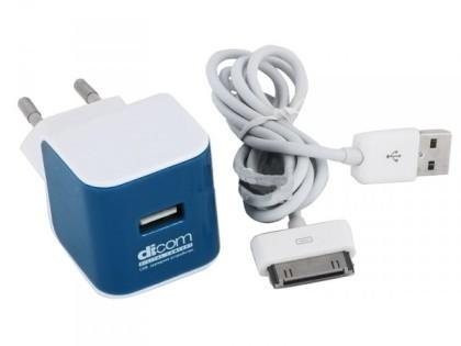 Сетевое зарядное устройство Dicom AD10A Blue