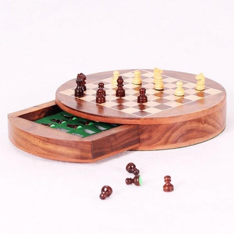 Шахматы круглые с ящиком