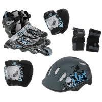 Набор: коньки ролик, защита, шлем PW-117С р.30-33