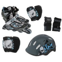 Набор: коньки ролик, защита, шлем PW-117С р.34-37