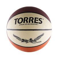 Мяч баскетбольный Torres Slam р. 7, резина, бежево-бордово-оранж